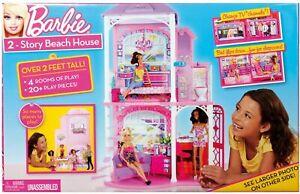 2009 MATTEL BARBIE 2-STORY BEACH HOUSE, 2 FT TALL NIB!!