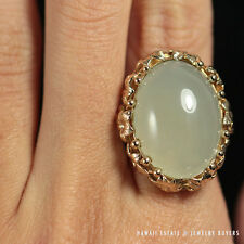 Ming'S Hawaii Green Jade Oval Cabochon 14K Yellow Gold Floral Ring (Sz 5.25)