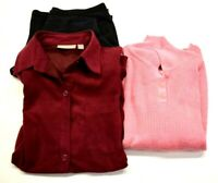Lot Of 3 Womens Small Mixed Variety Career Casual Tops Blouses Pull On Pants