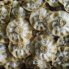 90pcs Handmade Burlap lace Roses Shabby Chic Flowers Rustic Wedding Decorations