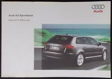 NEW GENUINE AUDI A3 SPORTBACK 8P OWNERS MANUAL HANDBOOK 11/2007 EDITION