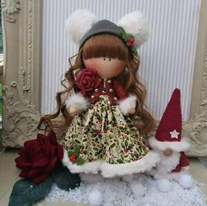 Christmas Rag doll made in the UK Tilda doll Ooak doll Art doll IVY 8 inch tall