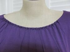 NWT-$60 Coldwater Creek Purple Ruched Pleated Neck Ballet STRETCH TUNIC Top 2X