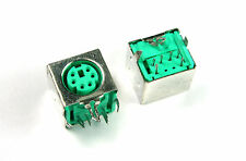 12pcs GENESIS Mini Din Connector, PCB Board Mount, 6 contact, PS/2 Green