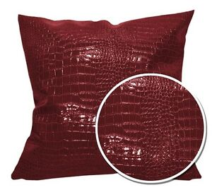 pd1006a Deep Red Faux Crocodile Glossy Leather Cushion Cover/Pillow Case*Custom