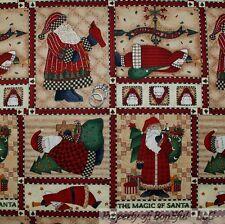 BonEful Fabric FQ Cotton Quilt Mumm Block Santa Xmas Country Bird VTG Tree Star