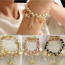 EG_ Girls Crystal Charms Pendants Gold Link Chain Leather Rope Cute Bracelet BHC