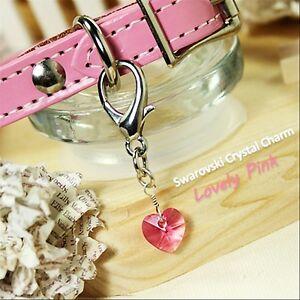 Dog/Cat Luxury Cute Collar Charm-Lovely Pink Swarovski Crystal Heart Pet Diamond