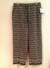 Women's CRAZY HORSE Spice Bazaar Green Red Blue Print Cropped Pants Size 10 NWT
