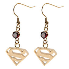 DC Comics Superman Shield Gold Plated Dangle Earrings
