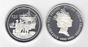 BRITISH VIRGIN ISLANDS SILVER PROOF 25$ COIN 1992 YEAR KM#125 SHIP COLUMBUS