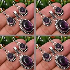 Amethyst 2pcs 925 Sterling Silver Plated Pendant Earring Sets Jewelry
