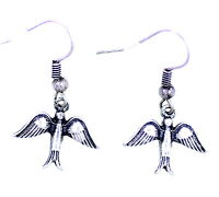 Vintage style antique silver coloured swallow bird dangle earrings