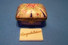 THANK YOU NOTE,RECT.BLUE,PK.ROSES authentic FRENCH LIMOGES BOX ( NEW )