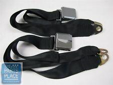 "Universal Chrome Flip Style 60"" Lap Seat Belts - Black - Pair - 1800"