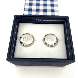 """Ox and Bull Trading Co. Silver Tone Round Classic Monogrammed """"TMM"""" Cufflinks"""