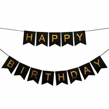 Pastel Happy Birthday Bunting Garland Gold Alphabet Party Hanging Banner Décor Black 79746