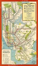 1951 Manhattan NYC Subway Historic Map - 24x42