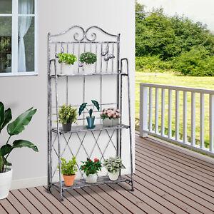 3-Tier Metal Folding Plant Stand Display Rack Bookshelf Unit Outdoor