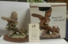 John James Audubon Porcelains 1982 Birds of America Barred Owl with Squirrel 8x9