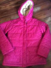 girls Lands' End Winter Coat fleece lined Worn Twice! pink Ski damask Large 14