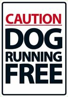 Caution Dog Running Free A5 Sign