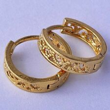 Womens Childrens Huggie Hollow Out Flower Hoop Earrings Yellow Gold Plated