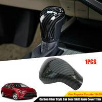 Fit 2019 2020 Toyota Corolla Carbon Fiber Style Car Gear Shift Knob Trim Cover