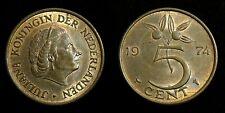Netherlands - Juliana 5 Cent 1974 Prachtig deels originele muntkleur