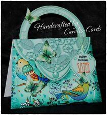 'HANDBAG' BIRTHDAY CARD BIRDS/BUTTERFLY MUM/NAN/SIS/AGE/NAME/PERSONALISED