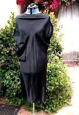 Yohji Yamamoto mainline black silk satin sheath dress bias cut draping Luscious