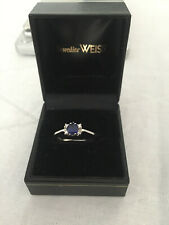 585er / 14kt Weißgold Ring mit 0,5 ct Saphir und 4 Diamanten - Verlobung -Gr. 62