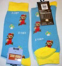 Adult 1UP SUPER MARIO BROS Men's Bioworld Crew Socks MUSHROOM LOGO New NWT 8-13