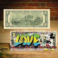 MICKEY MOUSE Graffiti LOVE Genuine $2 US Bill Pop Art SIGNED by Rency / Banksy
