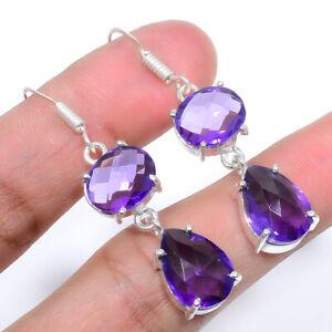 Faceted Amethyst - Brazil Handmade 925 Sterling Silver Jewelry Earring  VIE-576