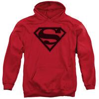 Superman RED & BLACK SHIELD Licensed Adult Sweatshirt Hoodie