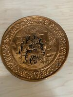 Vintage Solid Copper Embossed Wall Plate Tavern Pub Scene 10'' Made In England