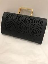 Black Faux Leather Floral Laser Cut Ladies Large Clutch Gold Top Carry Handbag