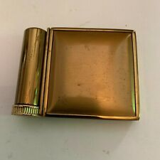 Vintage Goldtone Powder Compact With Attached Lipstick