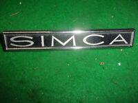 SIMCA 1100  sigle embleme logo insigne monogramme de carrosserie aluminium