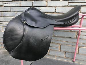 """17 1/2"""" MN Stubben Forward Cut Jump/XC Saddle - Black"""