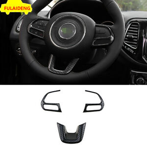 For Jeep Compass 2017-2020 Carbon Fiber ABS Interior Steering Wheel Cover Trim