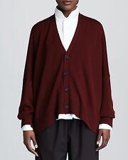 Eskandar O/S 1x 2x  Burgundy 100% Cashmere V Neck Button Down Cardigan Sweater