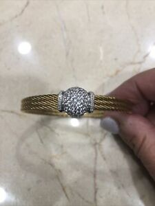 Charriol Rose Gold 18K White Topaz With Diamond Bracelet (Preowned) AU750