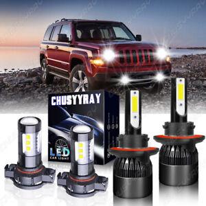 For Jeep Patriot 2011-2017 - 4PC LED Headlight High/Low + Fog Bulbs 6000K White