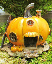 Pumpkin Fairy House with stem and chimney Resin Figurine Fantasy