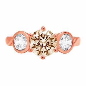 1.8 ct Round 3 stone Yellow Moissanite Promise Bridal Wedding Ring 14k Rose Gold