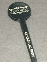 Vtg Black Crickets Chicago Illinois Swizzle Stir Stick Cocktail Pick Spir-It