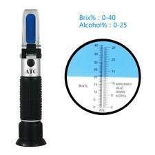 0-40% Brix 0-25% Alcohol Refractometer Beer Wine Grape Honey Sugar Test Meter