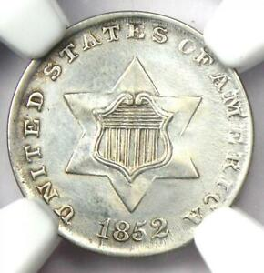 1852 Three Cent Silver Coin 3CS - Certified NGC UNC Details (MS) - Rare Coin!